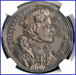 1550, Bavaria, William IV. Silver Suite Medal. (Struck 1760-1770!) NGC MS-62