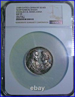1689 Baden-wurttemberg Charles II & Maria Anna Von Pfalz-nueberg Silver Medal