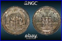 1700, Hamburg (City). Large Silver Wedding Medal by. J. Reteke. 74mm! NGC AU+