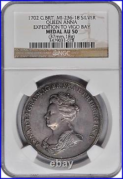 1702 Great Britain Queen Anne Silver Expedition To Vigo Bay Medal Ngc Au-50