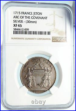 1715 FRANCE Arc of the Covenant CHERUBIM Jewish Silver FRENCH NGC Medal i83698