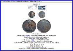 1721 FRANCE King LOUIS XV Lighthouse at Coroquna Silver French Medal NGC i83748