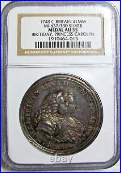 1748 Great Britain Princess Carolyn Silver Birthday Medal Ngc Au55 L@@k