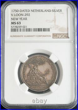 1750, Netherlands, Gelderland. Beautiful Silver New Year Medal. NGC MS-63