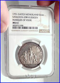 1751 NETHERLANDS William IV Prince Orange Silver Meda City of VEERE NGC i73304