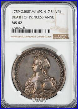1759, Great Britain. Silver Death of Princess Anne Memorial Medal. NGC MS-62