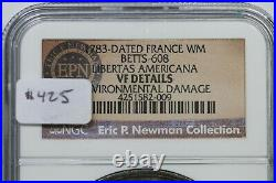 1783-Dated Betts-608 NGC VF Details France Libertas Americana Medal