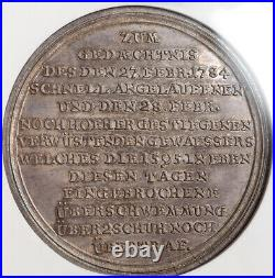 1784, Nuremberg (City). Silver 2nd Great Nurnberg Flooding Medal. NGC MS-63