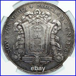 1789 MEXICO SPAIN King CHARLES IV Veracruz Silver Mexican Medal Coin NGC i87737
