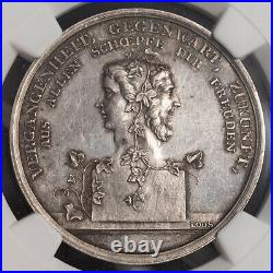 1800, Germany. Scarce Silver New Year's & Janus Head Medal by Loos. NGC MS-62