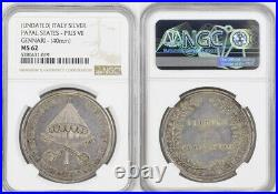 1829, Vatican. Large Silver Sede Vacante (Feb 10 March 31) Medal. NGC MS-62