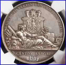1849, Switzerland, Argau. Silver Aarau Shooting Festival Medal. NGC MS-62