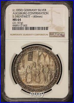 1850 Germany Augsburg Confirmation S. Drentwett 40mm Silver Medal NGC MS 64