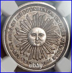 1863, Peru (Republic). Silver 2 Reales San Martin Proclamation Coin. NGC MS62