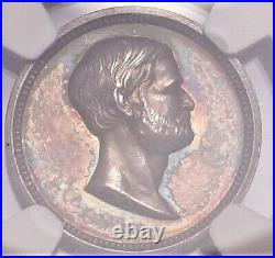 (1869) Lincoln Grant Medal Token Julian PR-39 Silver 18mm NGC MS63