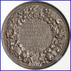 1869, Silesia, Breslau. Silver Farmers & Foresters Congress Medal. NGC MS-63