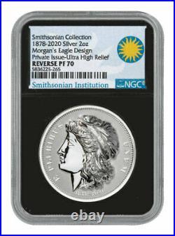 1878-2020 Morgan's Gold Eagle UHR 2oz Silver Medal NGC Rev PF70 Black Delay