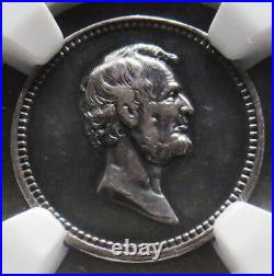 (1882) Silver Lincoln & Garfield Martyred 19 MM Medal J-pr-41 Ngc About Unc 50