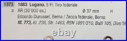 1883 Swiss Shooting Medal Taler 5 Francs Lugano Helvetia R-1373a NGC MS63