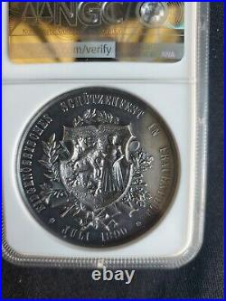 1890 Switzerland Shooting Medal, Thurgau-Frauenfeld, Silver, 45mm NGC MS 62 PL