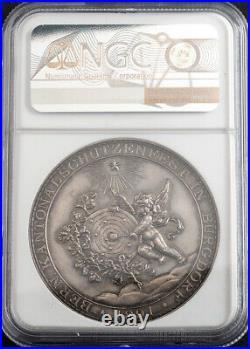 1891, Switzerland, Bern. Silver Burdorf Shooting Festival Medal. NGC MS-62