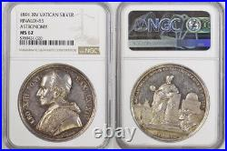 1891, Vatican, Pope Leo XIII. Silver Observatory Inauguration Medal. NGC MS62