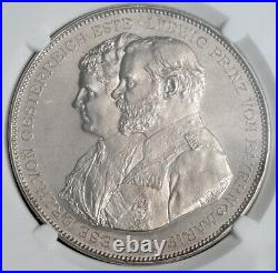 1893, Bavaria, Ludwig III. Silver 25th Wedding Anniv. Medal. 36.7gm! NGC MS63