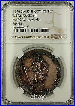 1896 Aargau-Aarau Switzerland Silver Swiss Shooting Fest Medal R-16a NGC MS-63