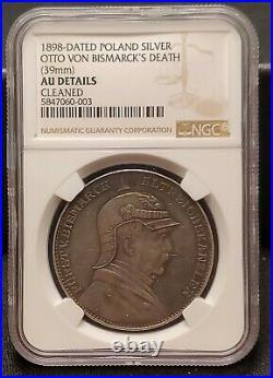 1898 Germany Poland Otto Von Bismarck Death Silver Medal NGC AU