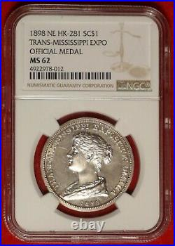 1898 Ne Hk-281 Trans Mississppi Expo Silver Medal So Called Dollar Ngc Ms 62