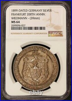 1899 Germany Frankfurt 200th Anniversary Wiedmann 39mm Silver Medal NGC MS 64
