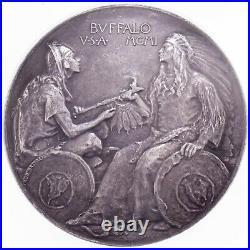 1901 NY Pan-Am Expo-Buffalo Silver Medal L-TM103 64 mm Graded by NGC as MS-61