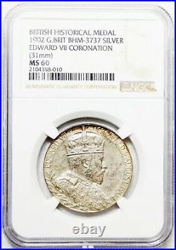 1902 Great Britain UK EDWARD VII & ALEXANDRA SPECIMEN SILVER MEDAL NGC MS 60