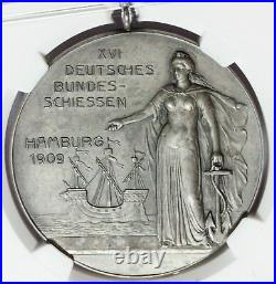 1909 Germany Hamburg XVI Federal Shooting Contest Silver Medal NGC MS 63