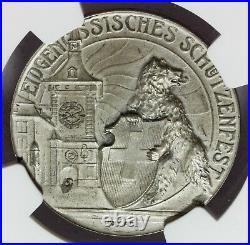 1910 Switzerland Bern Swiss Shooting Festival Silver Medal R-263b NGC MS 63