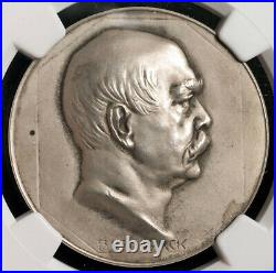 1915, Germany. Silver Birth Anniversary of Otto von Bismarck Medal. NGC MS-64