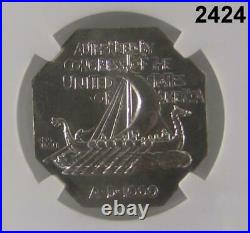 1925 Ngc Certified Norse American Medal Thick Silver Unc Details #2424