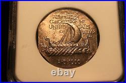 1925 Norse Amer. Medal NGC MS63 CAC Thick Silver Viking Warrior & Ship