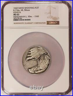 1949 Switzerland Geneva Swiss Shooting 50mm Silver Medal R-776a NGC MS 65