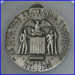 1961-1965 Silver CIVIL War Centennial Grant & Lee Medallic Art Ngc Mint State 64