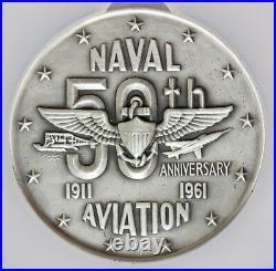 1961 U. S. Naval Aviation 50th Anniversary 64mm Silver Medal MACO NGC MS 67