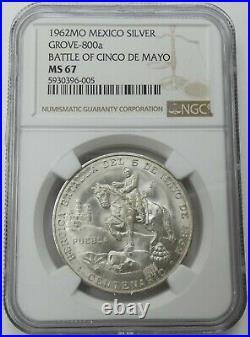 1962Mo Mexico Silver Medal Grove-800a Battle of Cinco de Mayo NGC MS67 bkc