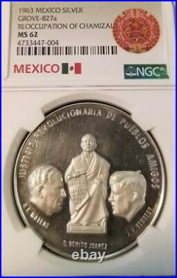 1963 MEXICO SILVER MEDAL GROVE 827a REOCCUPATION OF CHAMIZAL NGC MS 62