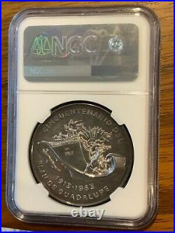 1963 MEXICO SILVER Medal Grove P-50a Plan Of Guadalupe NGC MS65 TOP POP CHOICE
