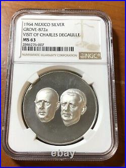 1964 MEXICO GROVE-872a SILVER MEDAL CHARLES DEGAULLE NGC MS63 Top Pop 1/0