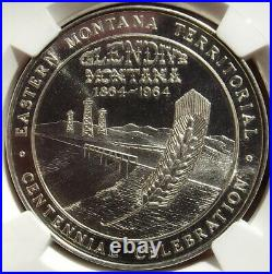 1964 Montana Centennial Silver Medal, Glendive MS67 PL NGC MT Token Dollar