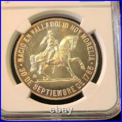1965 MEXICO SILVER MEDAL GROVE P 326a JOSE MARIA MORELOS NGC MS 64 TOP POP RARE