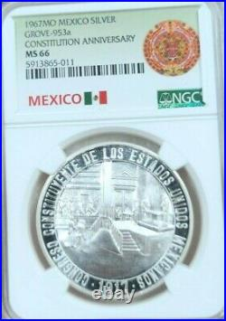 1967 MEXICO SILVER MEDAL GROVE 953a CONSTITUTION ANNIVERSARY NGC MS 66 TOP POP