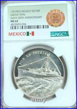 1967 MEXICO SILVER MEDAL GROVE 959a NAVY 50TH ANNIVERSARY NGC MS 62 RARE TOP POP