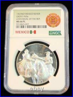 1967 MEXICO SILVER MEDAL GROVE 965a REPUBLIC CENTENNIAL NGC MS 66 PL TOP POP 1